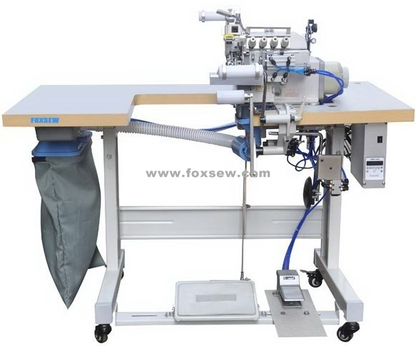 Automatic Cylinder Bed Overlock Machine for Neck Rib Collar Elastic Attaching