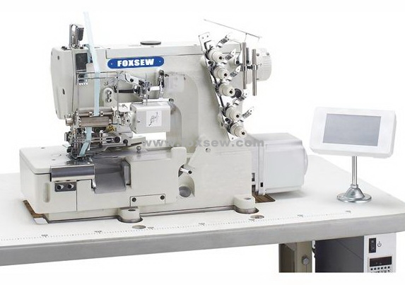 Computerized Direct Drive Interlock Sewing Machine for Elastic Lace Attaching with Edge Trimmer