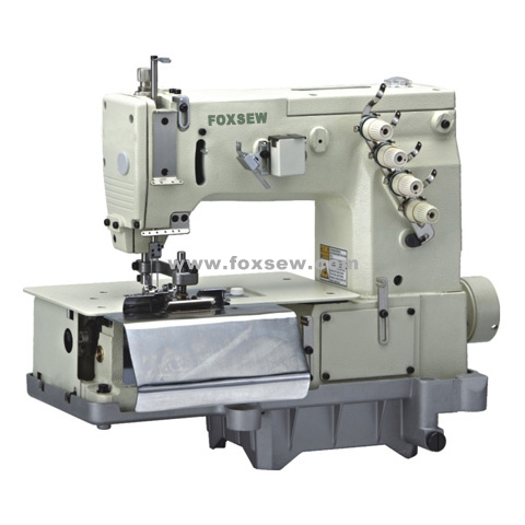 Double Needle Flatbed Chainstitch Belt Loop Making Sewing Machine with Front Cutter