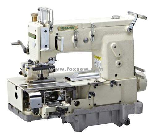 12-needle Flat-bed Double Chain Stitch Sewing Machine for simultaneous shirring