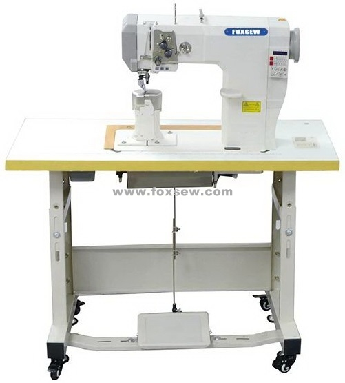 Double Needle Automatic Roller Feed Postbed Lockstitch Sewing Machine